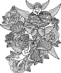 Love Angels And Flowers For Laser Engraving Machines Free DXF File