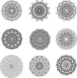 Mandala Design Set For Print Or Laser Engraving Machines Free DXF File
