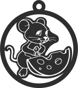 New Year 2020 Toy Mouse With Piece Of Cheese For Laser Cut Free DXF File