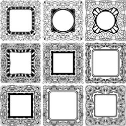 Square Decorative Designs For Laser Engraving Machines Free DXF File