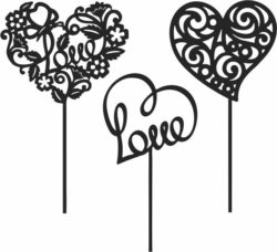 Toppers Heart For Laser Cut Free DXF File