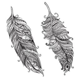 Two Feathers Download For Laser Engraving Machines Free CDR Vectors Art