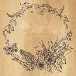 Floral Round Frame For Print Or Laser Engraving Machines Free CDR Vectors Art