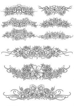 Flowers Decor Set For Print Or Laser Engraving Machines Free CDR Vectors Art
