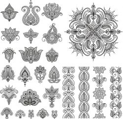 Henna Set For Print Or Laser Engraving Machines Free CDR Vectors Art