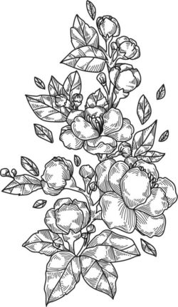 Peony Flowers And Leaves Vertical Laser Engraving Machines Free CDR Vectors Art