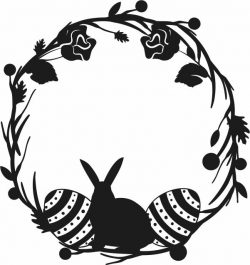 Rabbit Wreath With Eggs For Laser Cut Plasma Decal Free CDR Vectors Art