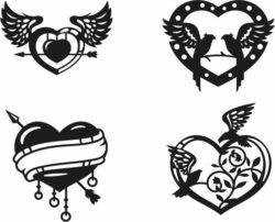 Valentine Heart For Laser Cut Plasma Free CDR Vectors Art