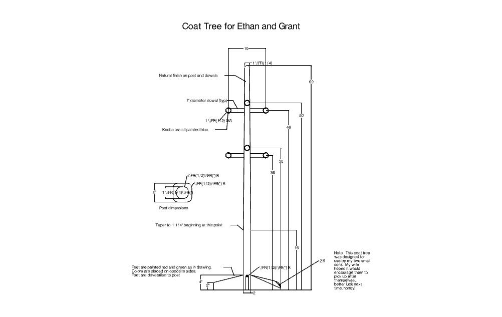 Coat Tree Free DXF File