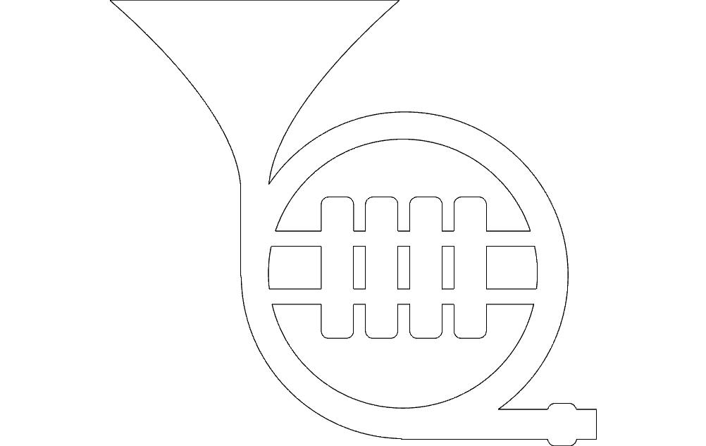 Horn Tuba Free DXF File