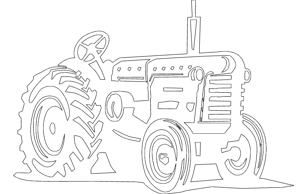 Tractor line Art Free DXF File