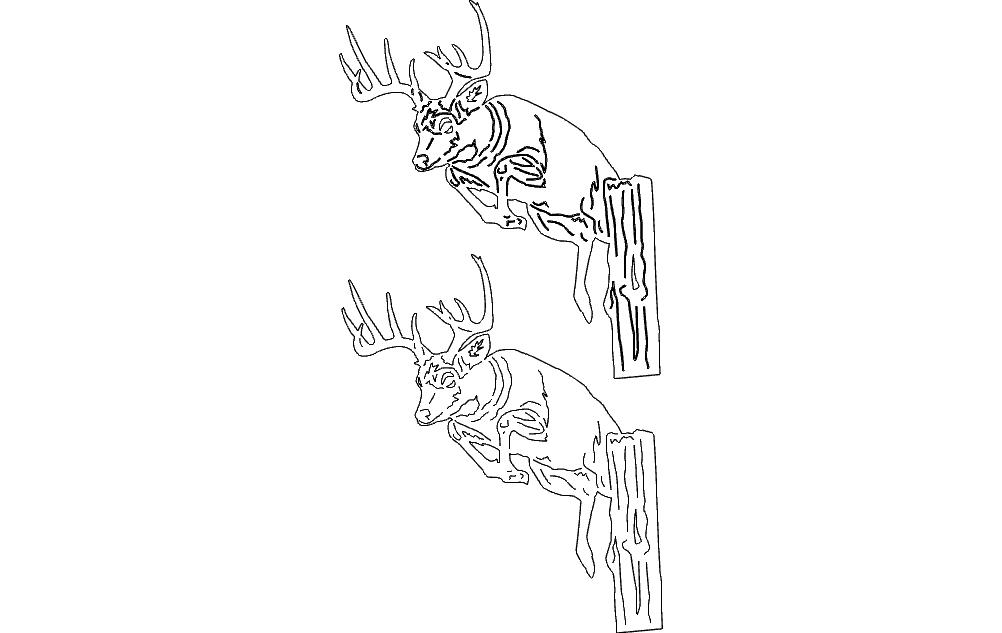 Deer Head Silhouette Free DXF File