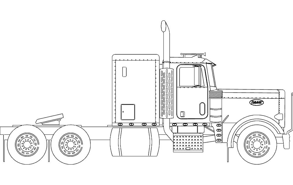 18 Wheeler Truck Free DXF File