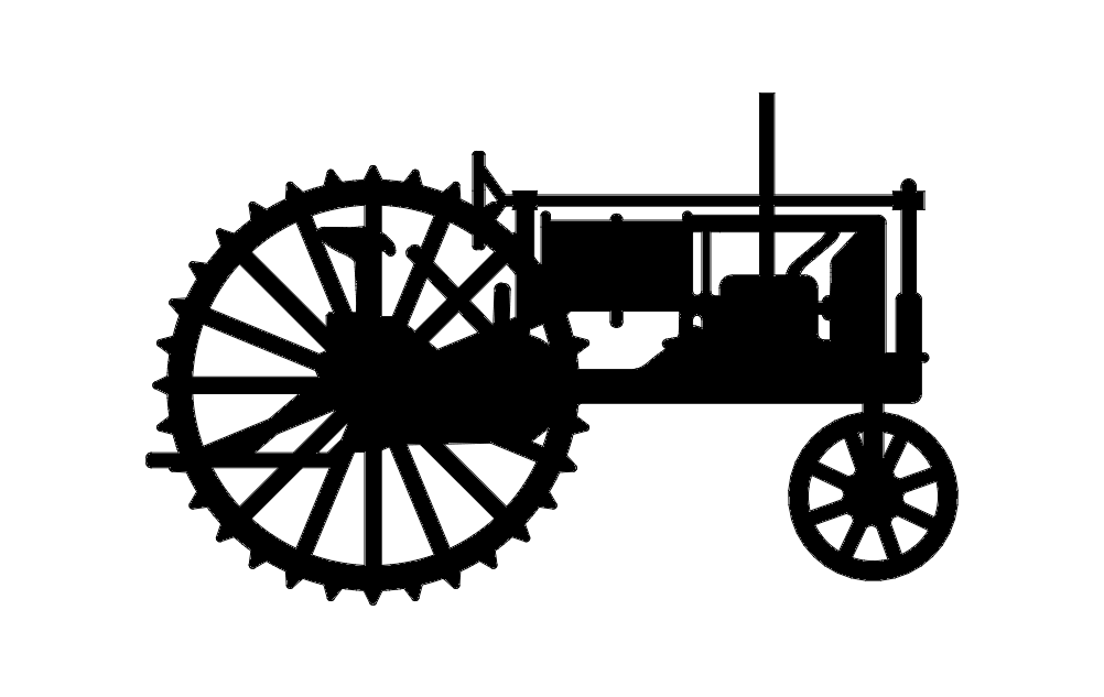 Black Tractor Silhouette Free DXF File