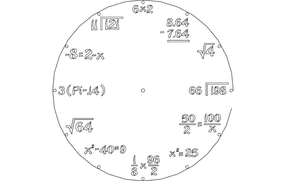 Clock Math Free DXF File