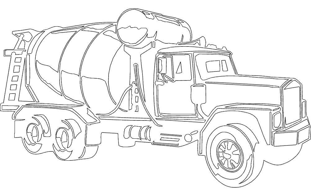 Concrete Mixer Truck Free DXF File
