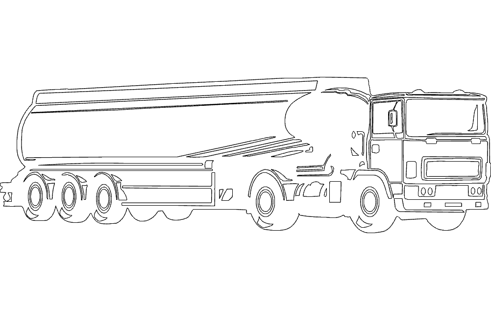 Fuel Tanker Truck Free DXF File