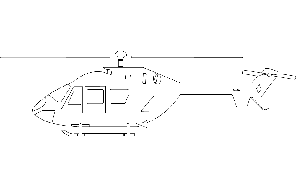 Helicopter Silhouette Free DXF File