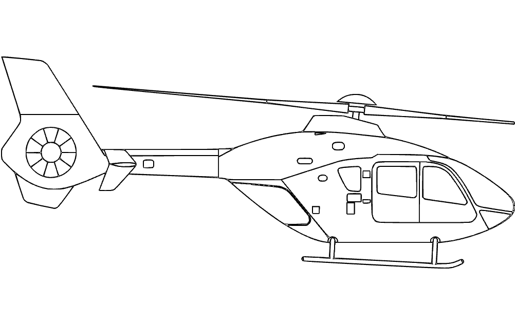 Helicopter Simple Silhouette Free DXF File
