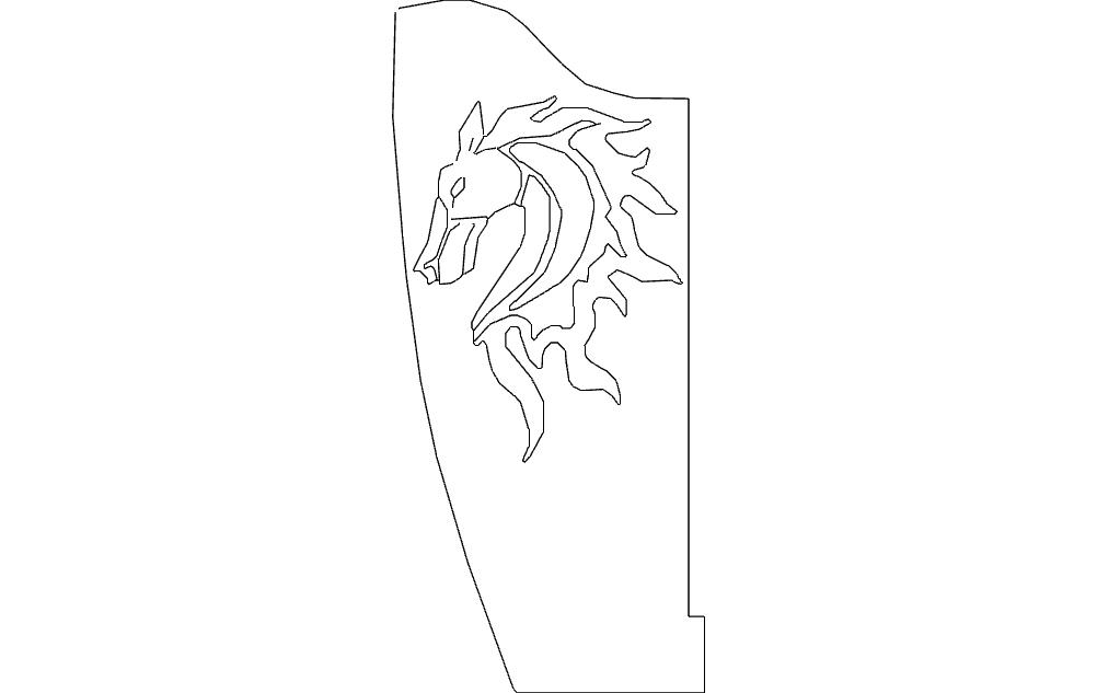 Horse Bracket Flipped Single Free DXF File