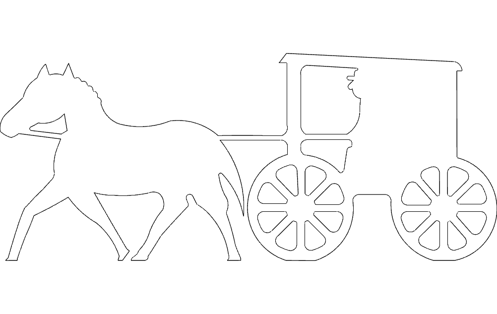 Horse Buggy Silhouette Free DXF File
