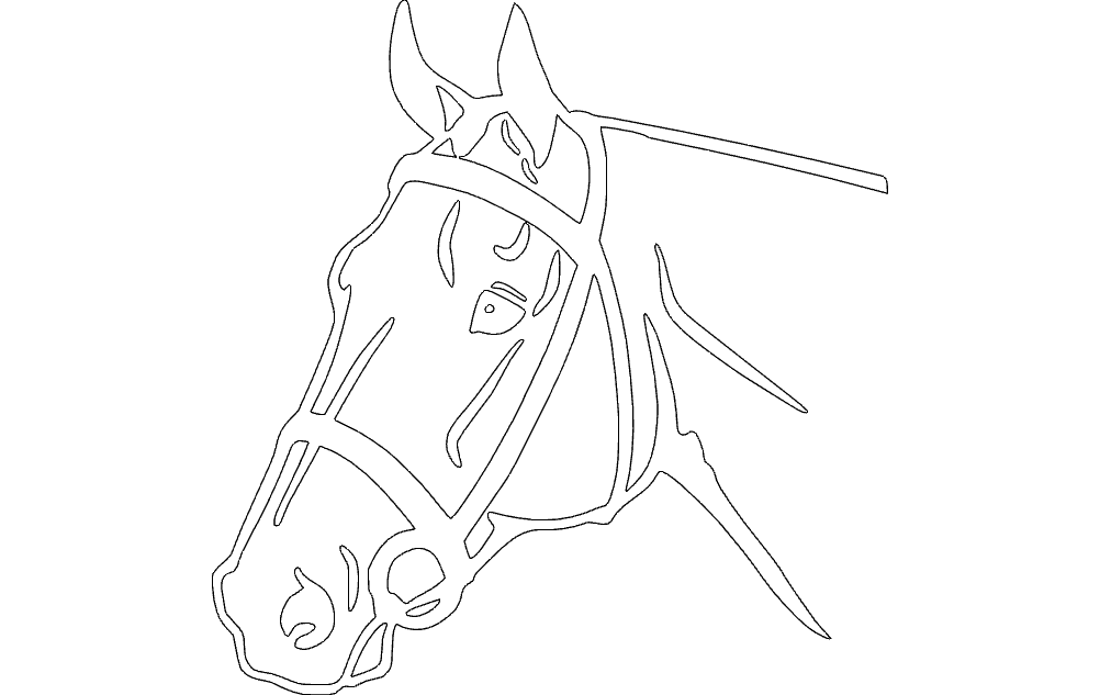 Horse Head Detailed Silhouette Free DXF File