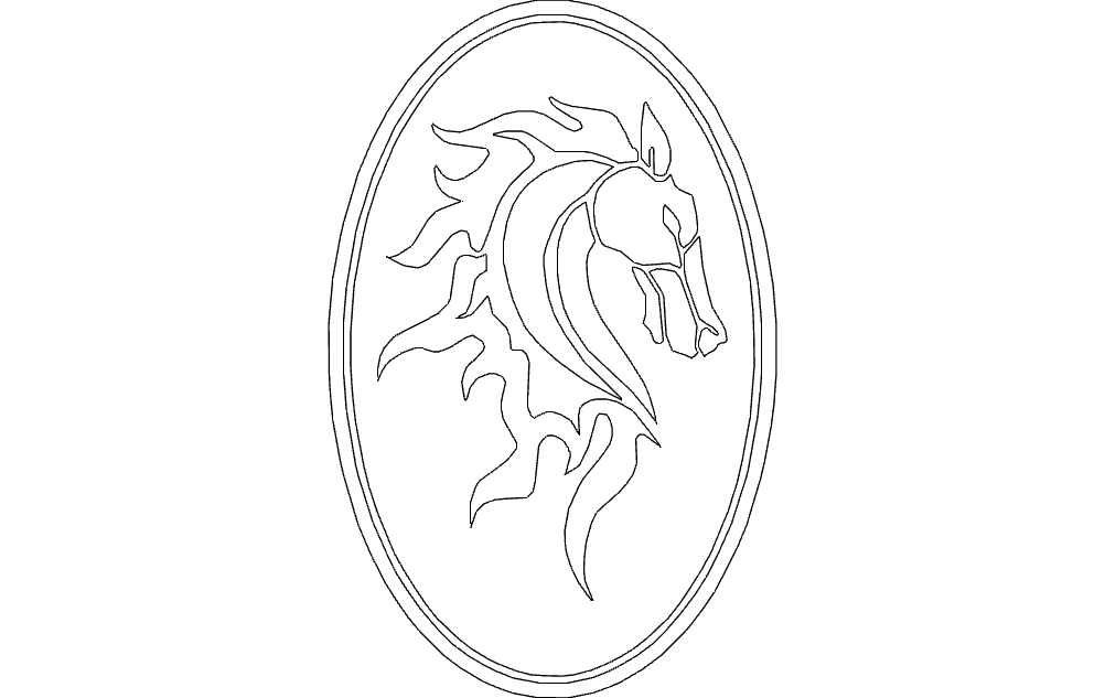 Horse Head In Oval Frame Free DXF File