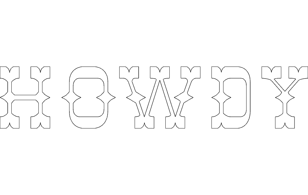 Howdy Letters Free DXF File