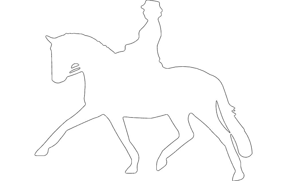 Jockey Horse Walking Free DXF File