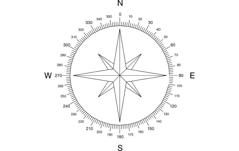 New North Arrow Compass Free DXF File