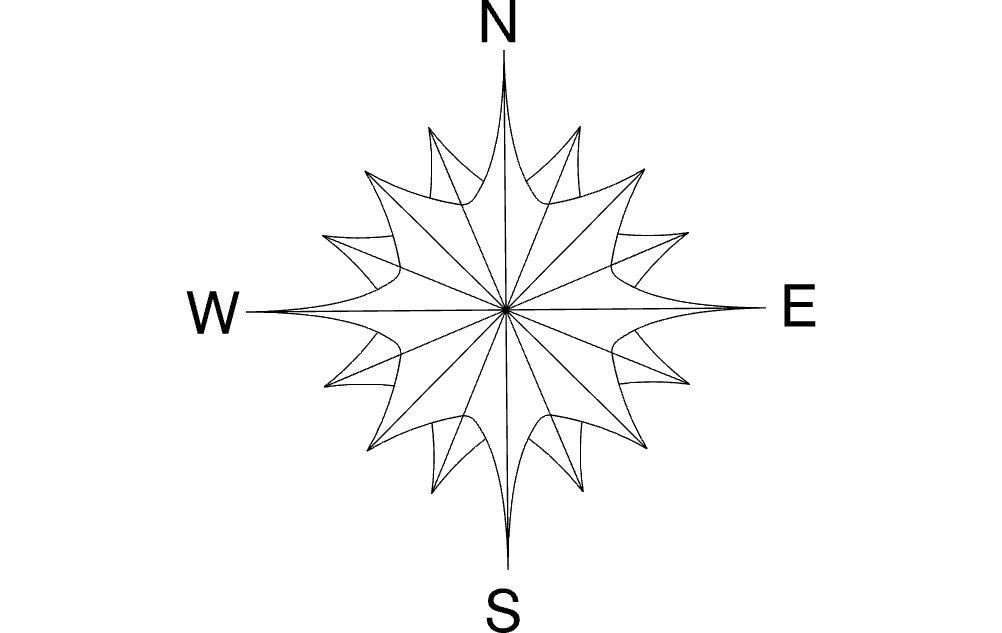 North Arrow Compass Flower Free DXF File