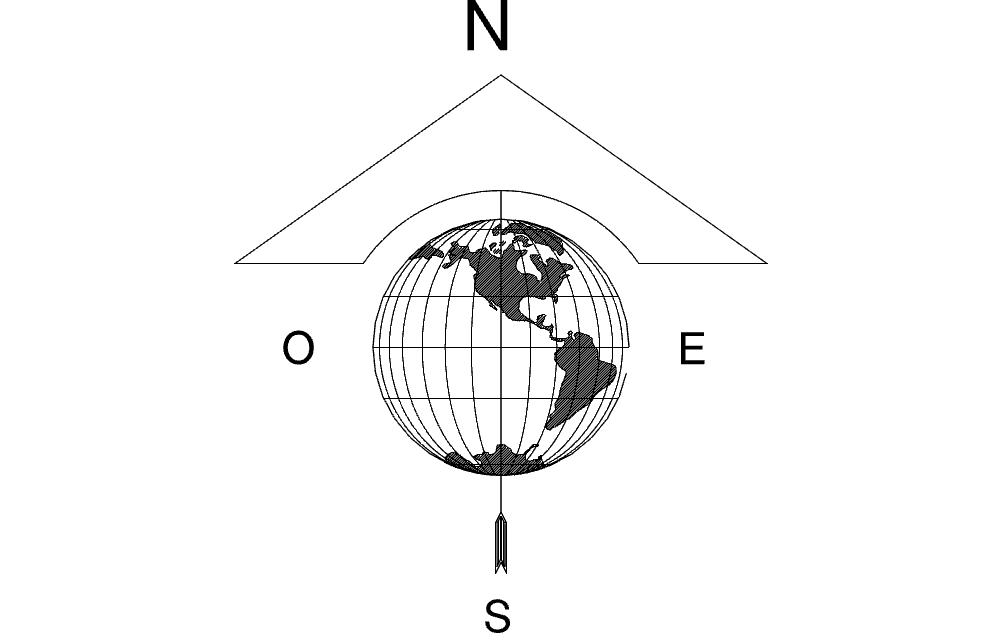 North Arrow Globe Map Free DXF File