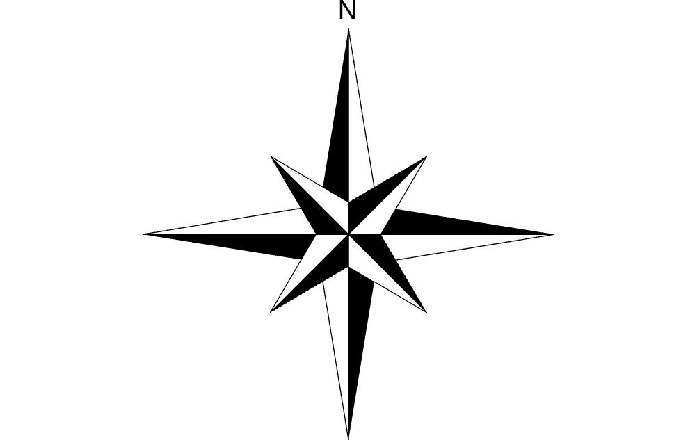 North Arrow Raised Free DXF File
