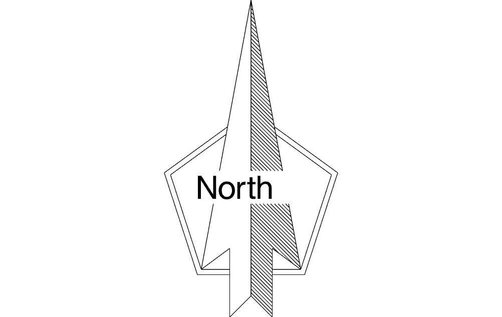 North Arrow Free DXF File