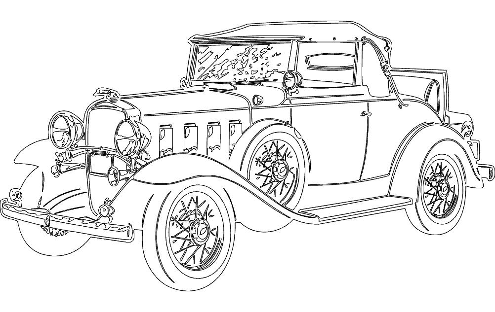 Old Vintage Car Free DXF File