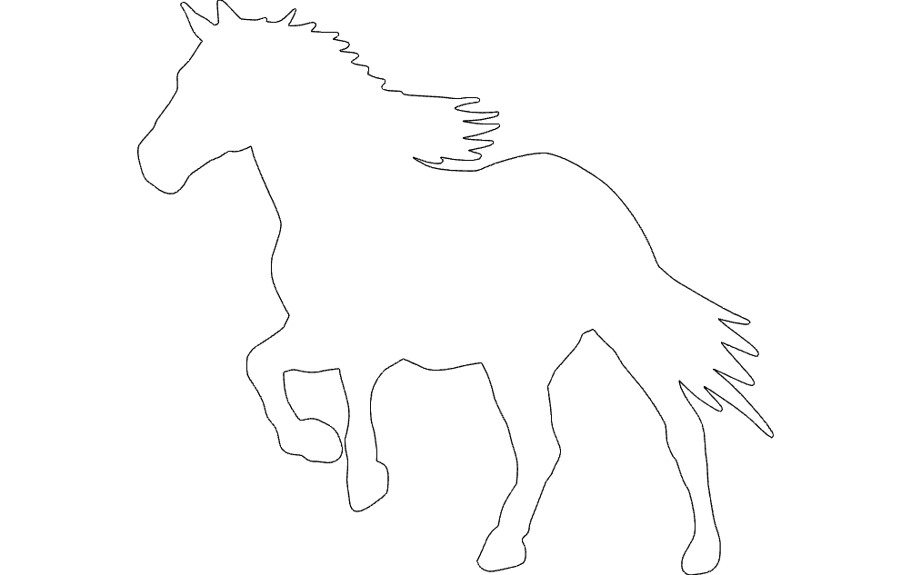 Running Horse Silhouette Free DXF File