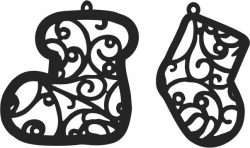 New Tree Decoration Socks For Laser Cut Free DXF File