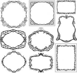 Decorative Frame With Vines Flowers For Print Or Laser Engraving Machines Free DXF File