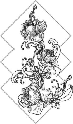 Lotus Ornament For Laser Engraving Machines Free DXF File