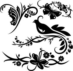 Murals Of Birds And Butterflies In Flower Gardens Free DXF File