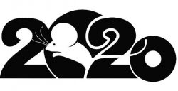 Mouse With 2020 For Print Or Laser Engraving Machines Free CDR Vectors Art