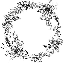 Wreath With Poppies For Print Or Laser Engraving Machines Free CDR Vectors Art