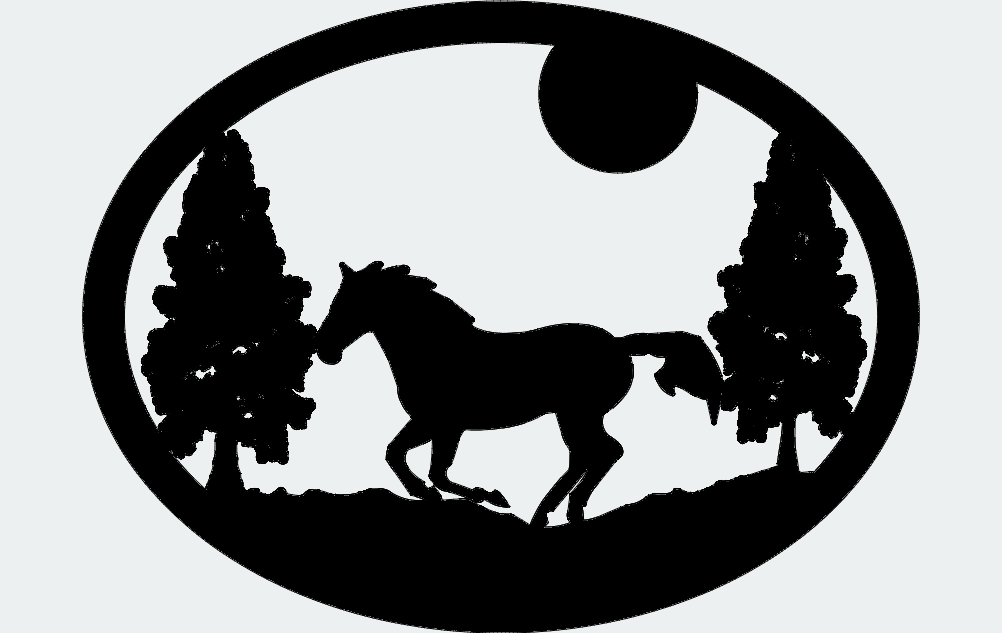 Oval Horse Trees Moon Free DXF File