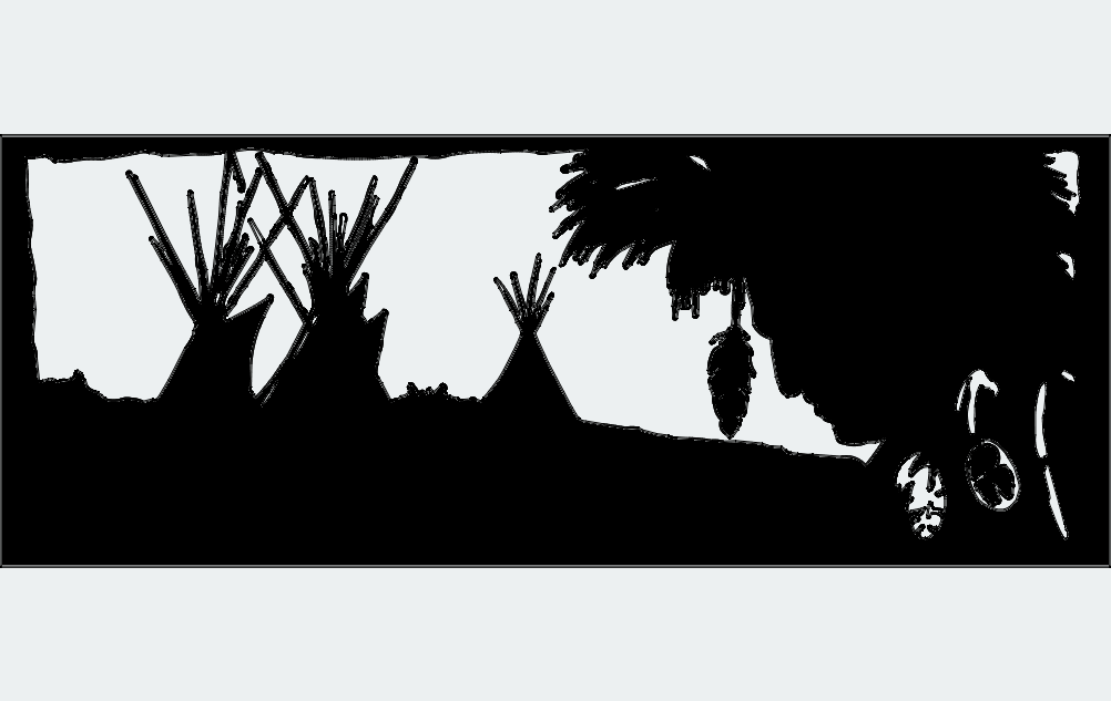 Native American Chief Spirit Village Teepees Free DXF File