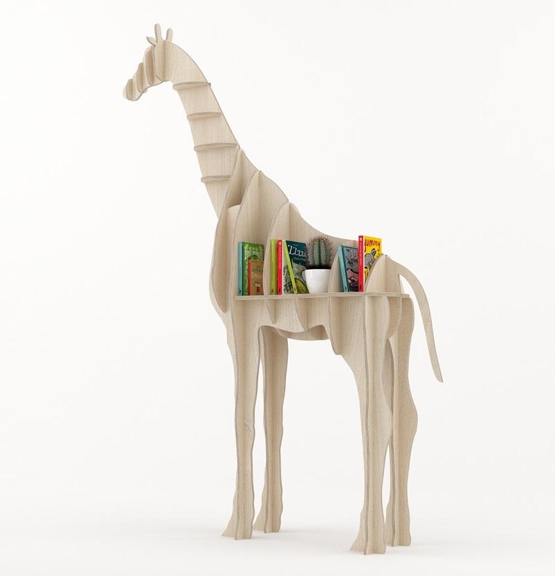 Laser Cut Giraffe Bookshelf Shelf Furniture Free DXF File