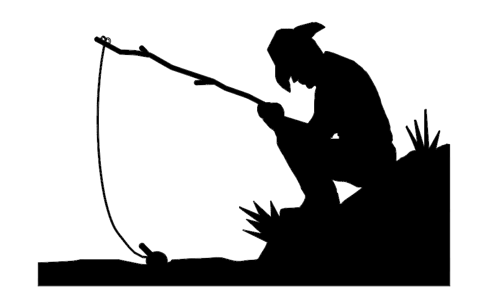 Fishing Silhouette Free DXF File