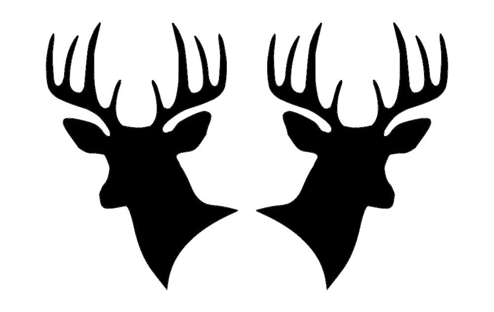 Deer Heads Free DXF File
