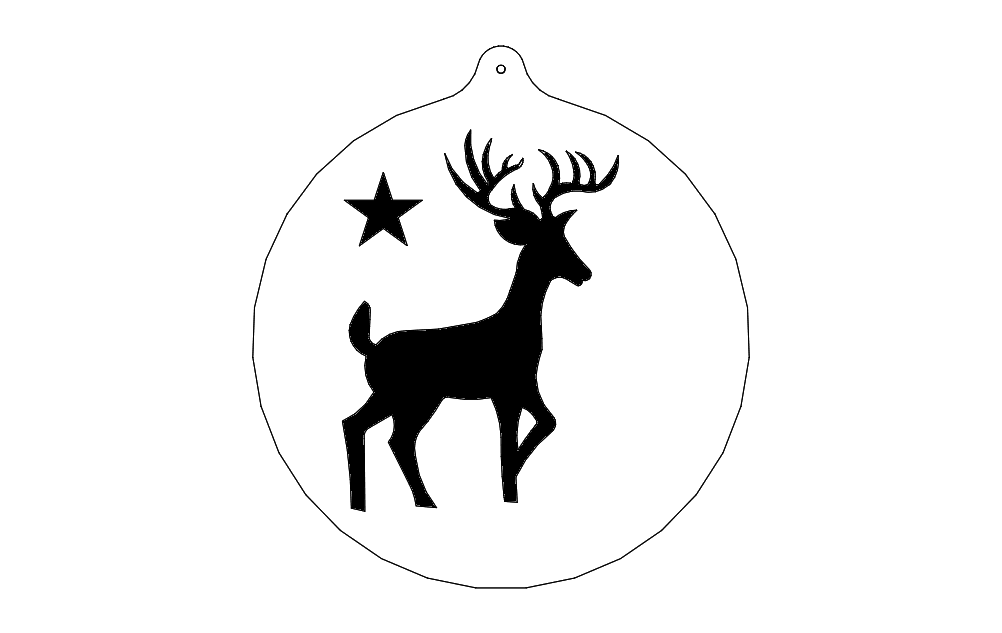 Deer And Star Free DXF File