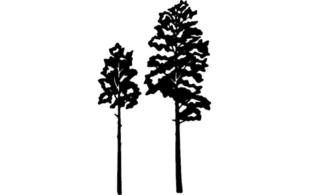 Aspen Tree Vector Silhouette Free DXF File