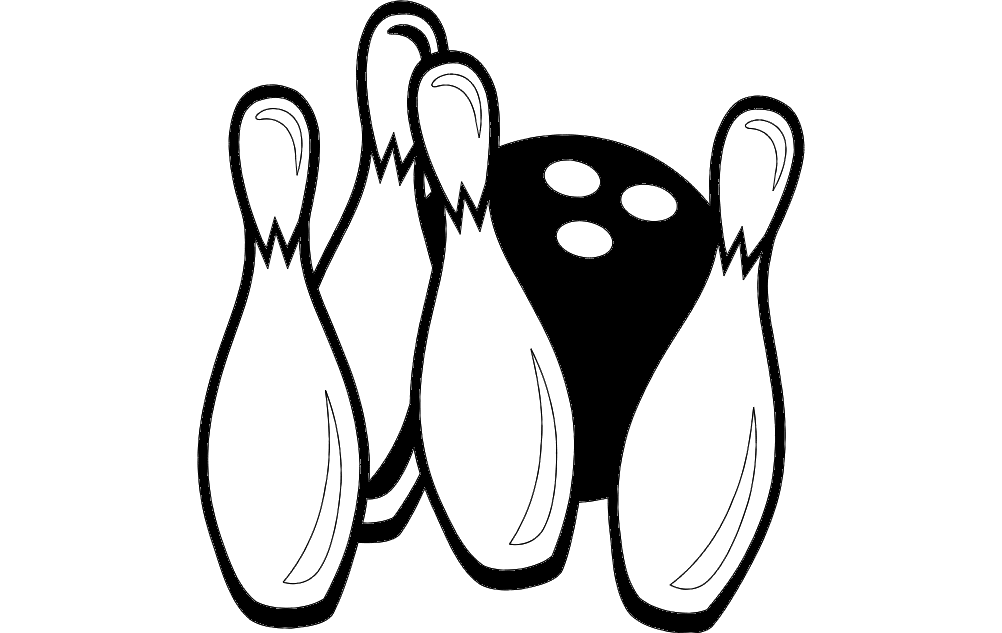 Bowling Pins And Ball Game Free DXF File